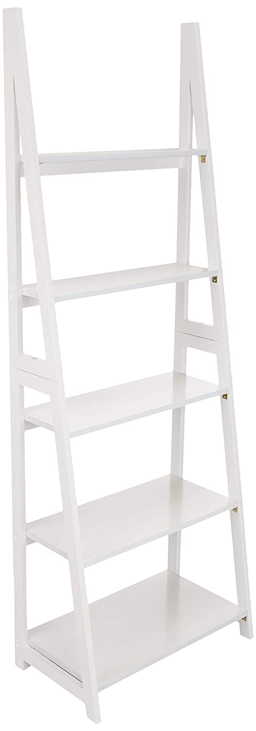 AmazonBasics Modern Ladder Bookcase with Solid Rubber Wood Frame – White