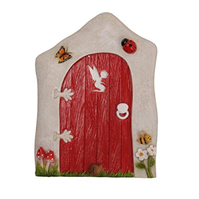 Pacific Giftware Miniature Fairy Garden of Enchantment Fairy Gnome Hobbit Cottage Red Door 4 Inches: Home & Kitchen