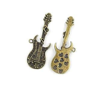 Joyería Making charms bu009 guitarra eléctrica antiguo bronce Retro conclusiones Bulk colgante para collar pulseras: Amazon.es: Juguetes y juegos