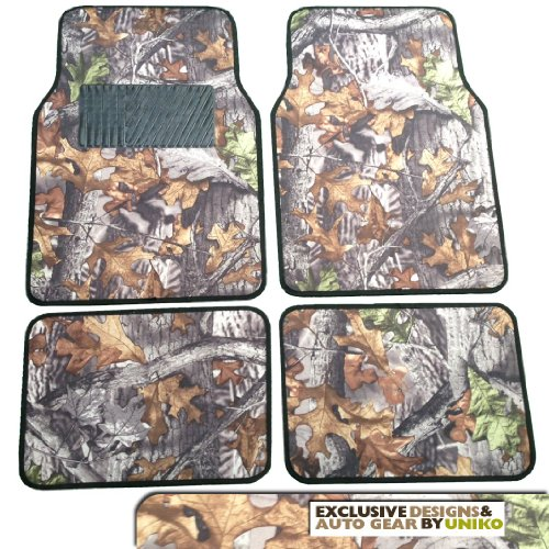 Camo Floor Mat Set - 4 Piece Front & Rear in Surreal Camouflage - Gray Forest (Digital Camouflage Floor Mats compare prices)