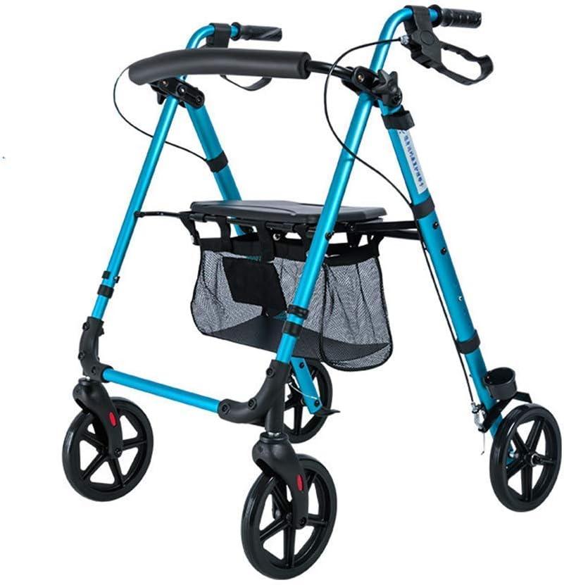 Andador, Andador Andador, Bastidor para Caminar, 4 Ruedas, Plegable, Compacto, Ayudas A La Movilidad con Bolsa De Asiento, Andador De Transporte, Bastón De Uso Múltiple, para Ancianos Discapacitados
