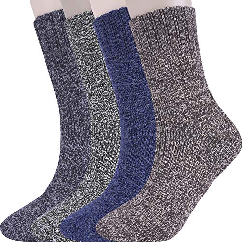 Wehapfa 4 Pairs Women Wool Warm Socks For Winter, Thick Cozy Knit Boot Socks (Dark, 4)