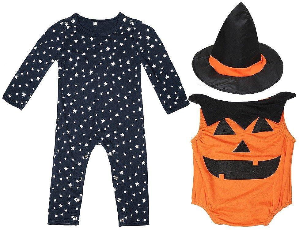 FANCYINN Costume d'halloween Bébé Combinaison Citrouille 4pcs Ensemble Star Print Rompers Gilet Citrouille Chapeau de Magicien