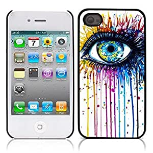 Beautiful Eye Hard Plastic and Aluminum Back Case for Apple iphone 4 4S
