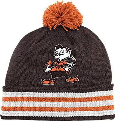 quality design 5ecb7 65500 Amazon.com   Cleveland Browns Throwback Jersey Stripe Cuffed Knit Hat w   Pom   Sports   Outdoors