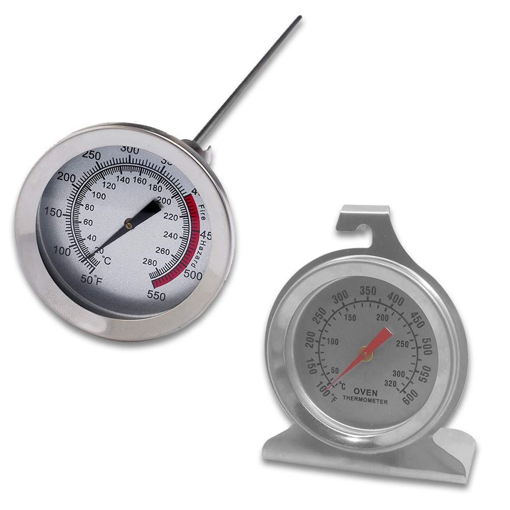 Juego de 2 termómetros de acero inoxidable para el control del horno, con base de gancho y panel y termómetro de cocina de carne de 12 pulgadas