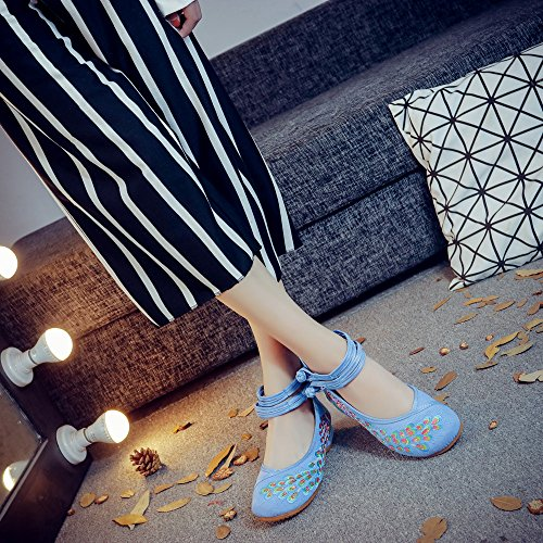 Bleu Danse Chaussures Flats Femmes Fanwer Broderie Semelle Paon De Paillette Confortable Souple Chinoises RnpqOg