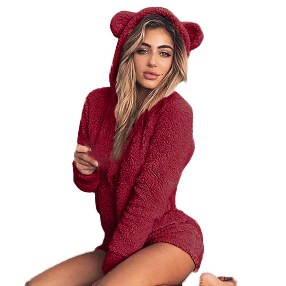 Clearence!!!Sonnena Women Autumn Winter Fashion Hooded Cute Shorts Rompers Home Service Jumpsuit
