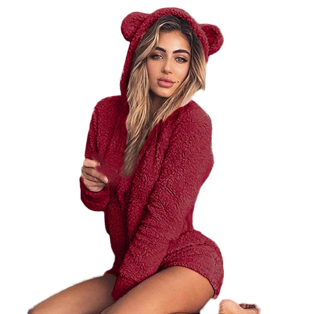 Sweatshirt Femmes CIELLTE Automne Sweat Shirt À Capuche Mignon Shorts Rompers Accueil Service Combinaison Jumpsuit Pyjamas S-5XL