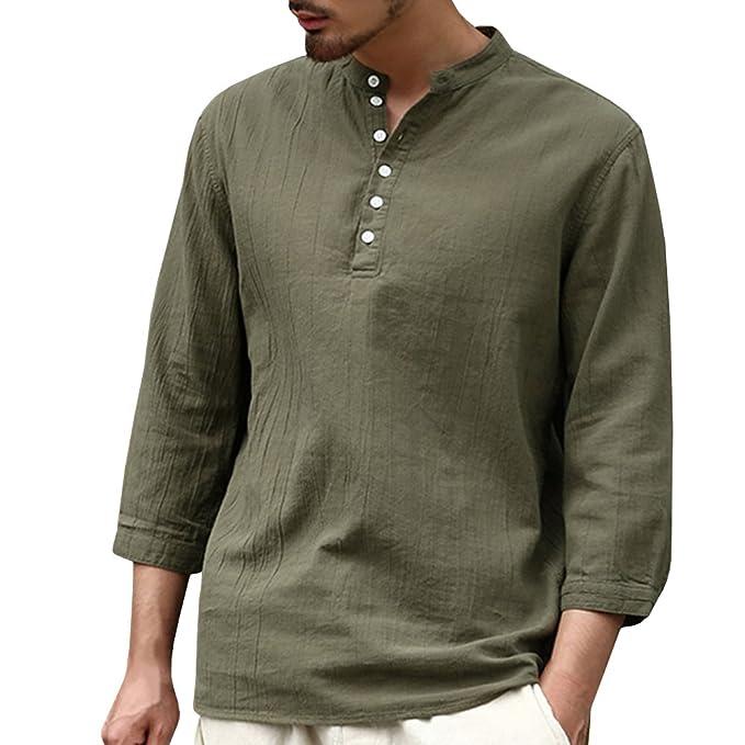 bfa6083b66c4d Gtealife Mens Casual Long Sleeve T-Shirt Solid Button Down Essential Shirts  (S,