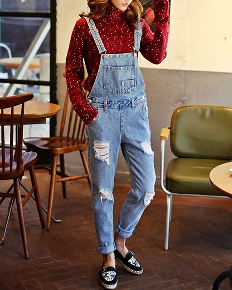 46db0d7adfa Quge Denim Jumpsuit Women Ankle Length Ripped Overalls Trousers Ladies  Jeans Rompers Retro XL  Amazon.co.uk  Clothing