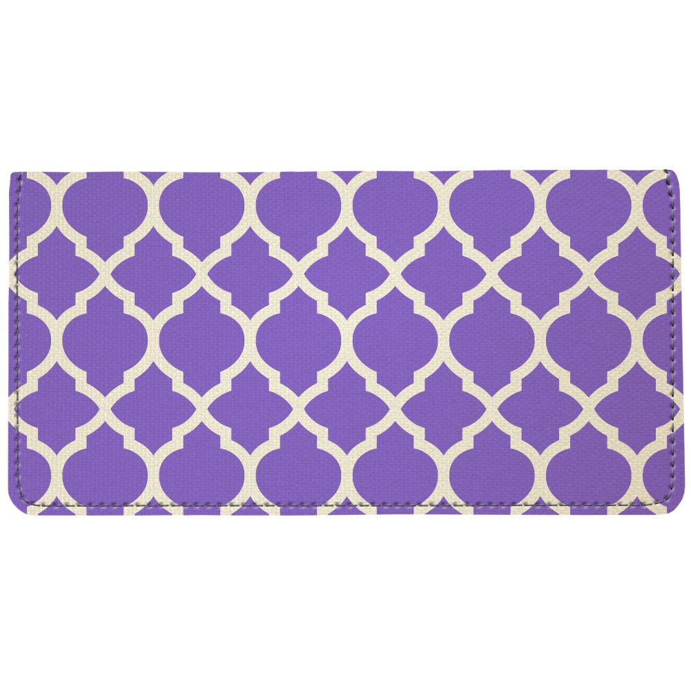 Snaptotes Purple Trendy Personalized Moroccan Monogram Checkbook Cover