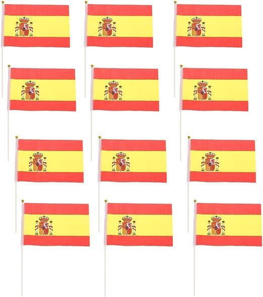 12pcs Mini Bandera Nacional de País España Mano Agitando Deportivo Evento 14 x 21cm: Amazon.es: Hogar