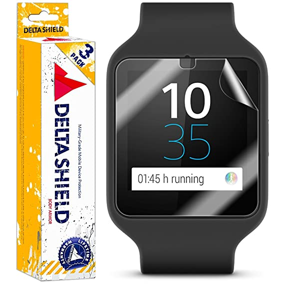 DeltaShield Screen Protector for Sony Smartwatch 3 (6-Pack) BodyArmor Anti-Bubble Military-Grade Clear TPU Film