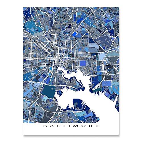 Baltimore Map Print, Maryland USA, City Street Art, (Baltimore Maryland Map)