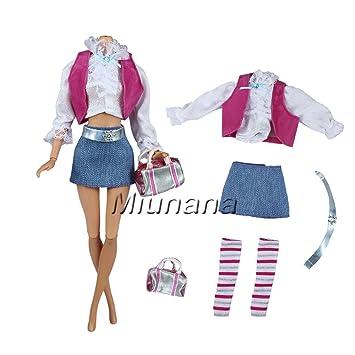 Miunana 1 Traje de Ropa Casual Vestir Chaleco + Blusa + Falda Jean +Cinturón +