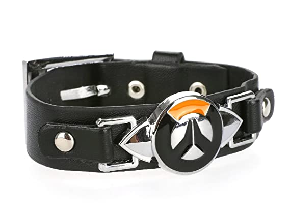 keysm Tipo Over Watch PU de Pulsera de Piel con Logo de Metal