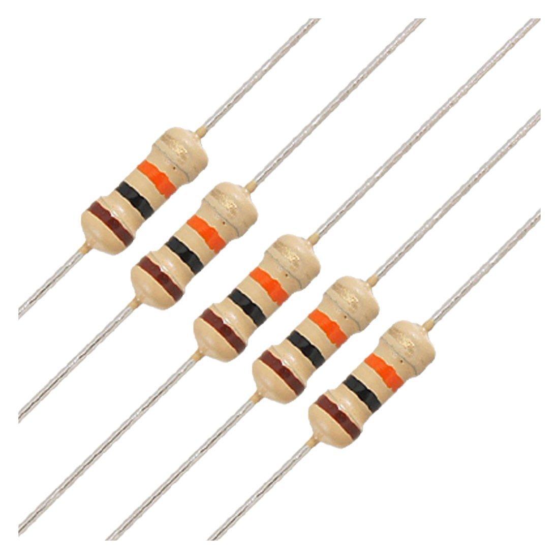 Resistores de pelicula de carbon 100 x 1 // 4W 250V 10K Ohm Resistores de pelicula de carbon de plomo axial TOOGOO R