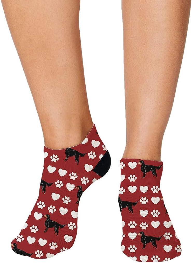 Gordon Setter Dog Red Paw Heart Pattern Men-Women Adult Ankle Socks