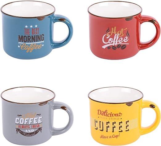 Caja de 8 tazas de café con decoración vintage, mesa Passion: Amazon.es: Hogar