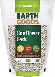 Earth Goods Organic Sunflower Seeds, NON-GMO, Gluten-Free, High Protein 340g