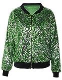 PrettyGuide Women's Sport Coat Sequin Deco Long Sleeve Bomber Jacket S/0-2 Green
