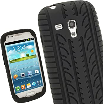 iGadgitz U2136 Negro Case Neumático Tyre Silicona Funda Cover Carcasa Compatible con Samsung Galaxy S3 III Mini I8190 + Protector de Pantalla: Amazon.es: Electrónica