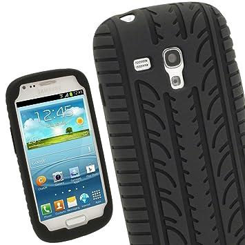 igadgitz Negro Case Neumático Tyre Silicona Funda Cover Carcasa para Samsung Galaxy S3 III Mini I8190 Android Smartphone teléfono móvil + Protector de ...