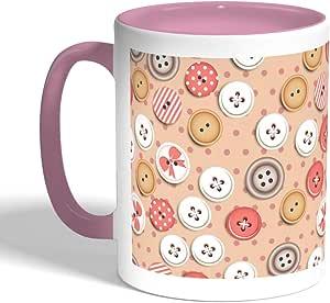 كوب سيراميك للقهوة، لون بنك،  بطبعة ازرار ملابس
