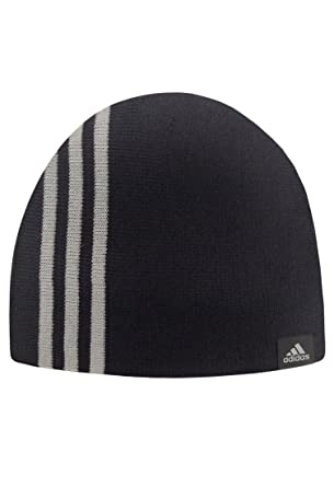 c7631a78a24 Adidas Mens 3 Stripe Essentials Beanie Hat Black   Grey  Amazon.co ...