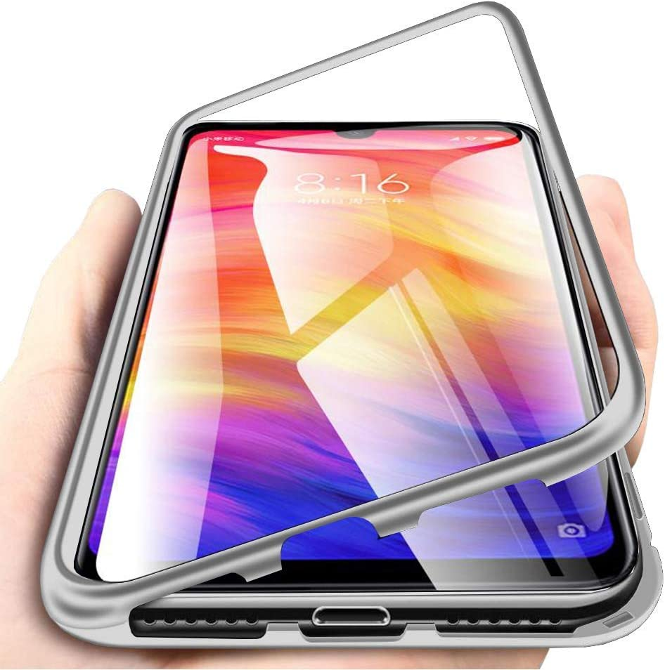 Carcasa para Xiaomi Redmi Note 7, Funda de Fuerte Adsorción Magnética Súper Delgada Marco de Metal de Vidrio Templado Transparente con Cubierta Magnética Incorporada Caso: Amazon.es: Electrónica