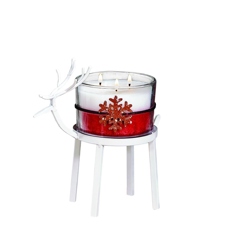 CC Home Furnishings Set of 2 White Christmas Reindeer Pillar Candle Holder 8'' - Small