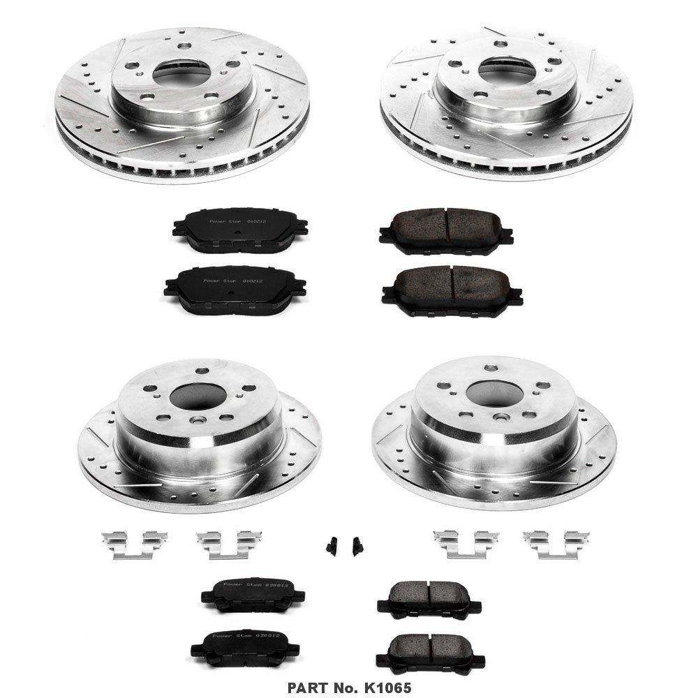 Power Stop K1065 Front /& Rear Brake Kit with Drilled//Slotted Brake Rotors and Z23 Evolution Ceramic Brake Pads
