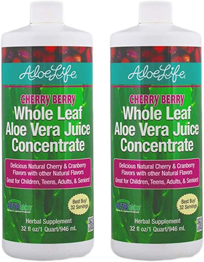 Aloe Life - Whole Leaf Aloe Vera Juice Concentrate, Certified Activator, Organic, Supports Healthy Digestion, Immune System and Overall Wellness (Cherry Berry, 32 Ounces) | 2-Pack