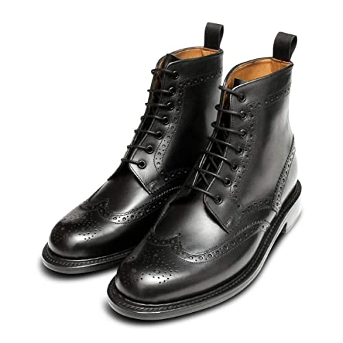 2dbc6f79c29 Black Goodyear Welted Brogue Chapman Country Boots: Amazon.co.uk ...