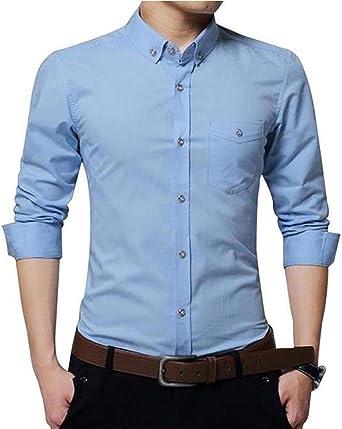 Camisa Casual de Manga Larga con Mangas largas para Hombre: Amazon.es: Ropa y accesorios