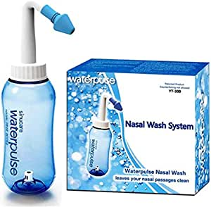 Neti Pot Sinus Rinse Bottle Nose Cleaner Allergy Relief Nose Wash Cleaner Pressure Rinse Nasal Irrigation for Adult & Kid BPA Free 300 ML with 10 Package Nasal Wash Salt and Sticker Thermometer -Blue