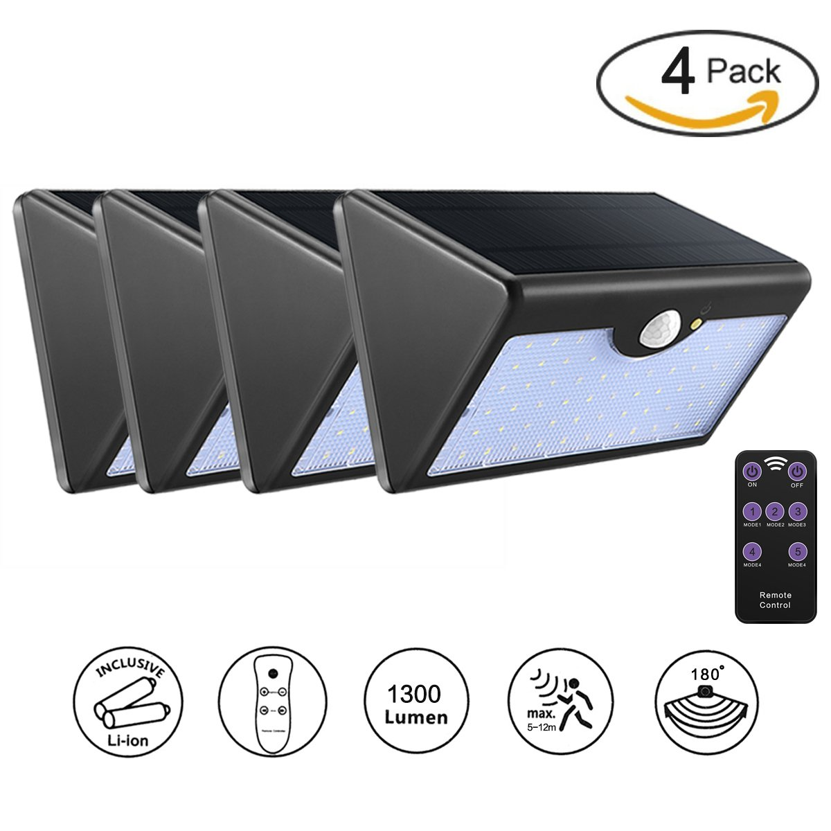 Abedoe Solar Lights Outdoor 1300 Lumen Super Light with 5 Modes Remote Control, 60 LED Waterproof Motion Sensor Security Wall Light, Automatically ON at Night for Garden Patio Path Fence (Pack of 4)