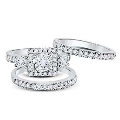 Amazon Com Allyanna Gifts 925 Sterling Silver 0 75 Ct Cz Princess