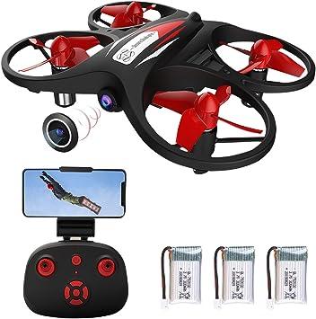 Opinión sobre Mini Drone para niños 2.4G WiFi FPV Drone con cámara 720P WiFi Transmisión en Tiempo Real Sensor de Gravedad Altitud Hold Modo sin Cabeza Control de la aplicación (con 3 baterías)