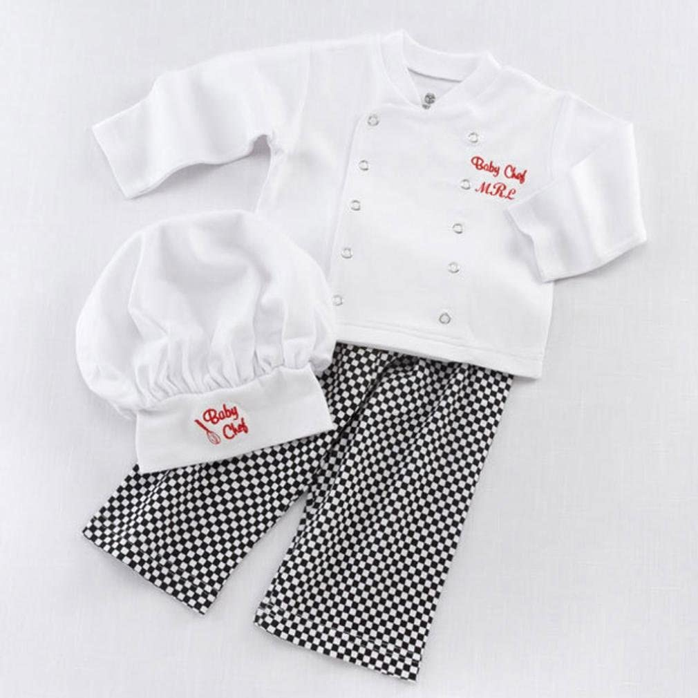 Clode for 9-18 Months Baby Chef Cosplay Outfits Baby Boys Baby Chef T-Shirt Tops+Pants Cap Kids Clothes Set