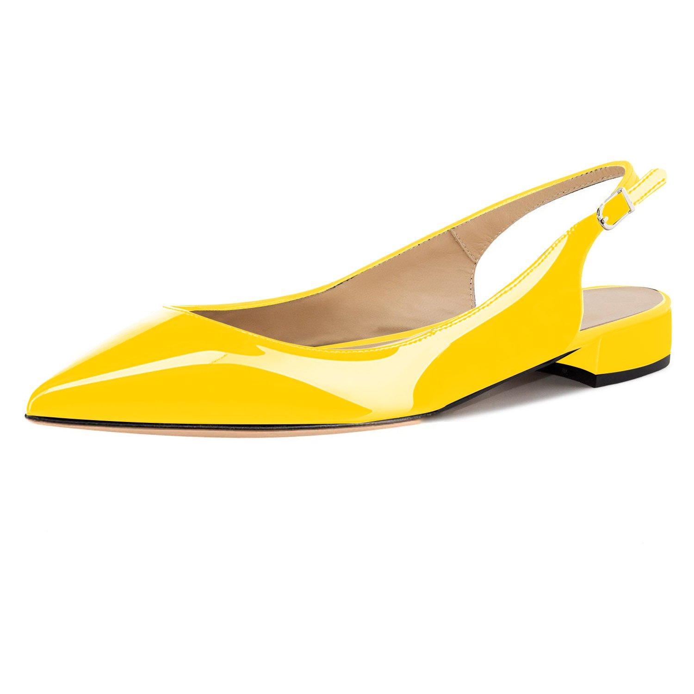 Eldof Women Low Heels Pumps | Pointed Toe Slingback Flat Pumps | 2cm Classic Elegante Court Shoes B07C4W8GN4 13 B(M) US|Patent Yellow