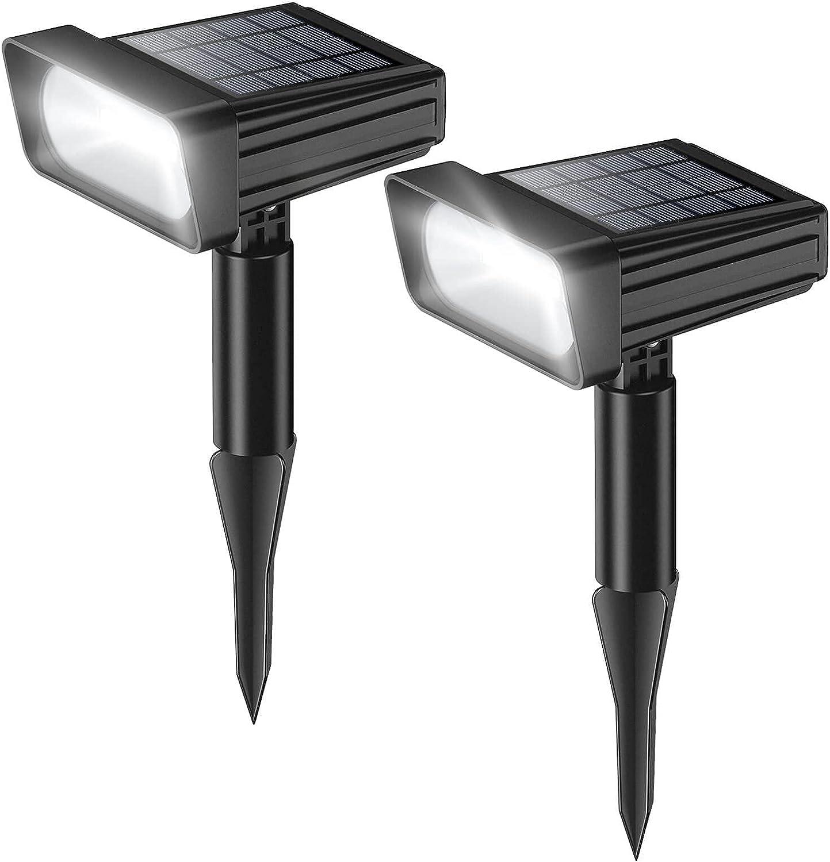 Solar Powered Spot Lights Outdoor - Garden Landscape Lighting Waterproof COB LED Solar Spotlight Dusk to Dawn Decorative for Yard, Garden, Walkway and Pool, 2 Pack (White)