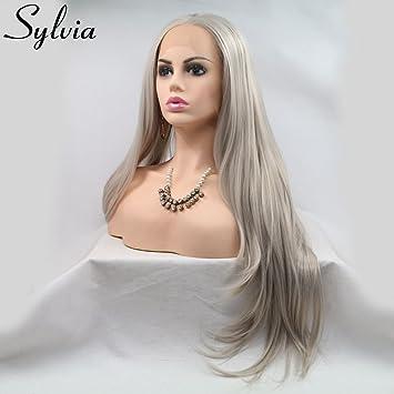 Sylvia Blond Platine Naturel Cheveux Raides Synthétique Lace Front