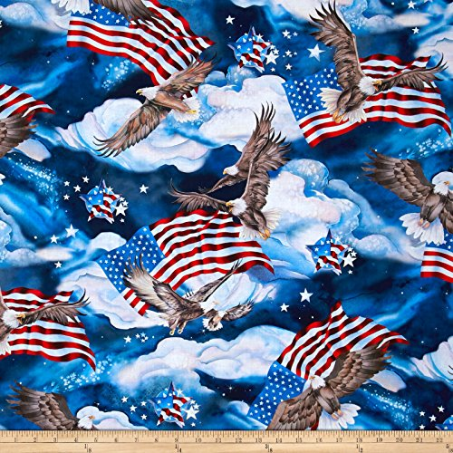 Kaufman Fabrics Patriots Digital Dots Eagles Flags Platinum