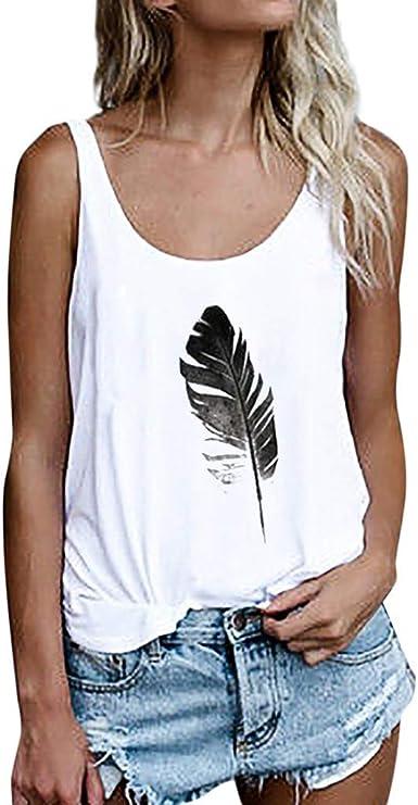 Lenfesh Camiseta de Tirantes para Mujer, Mujeres Gato Imprimir Chaleco sin Mangas Sueltos Crop Tops Verano Mujer Tank Blusa Camiseta: Amazon.es: Ropa y accesorios