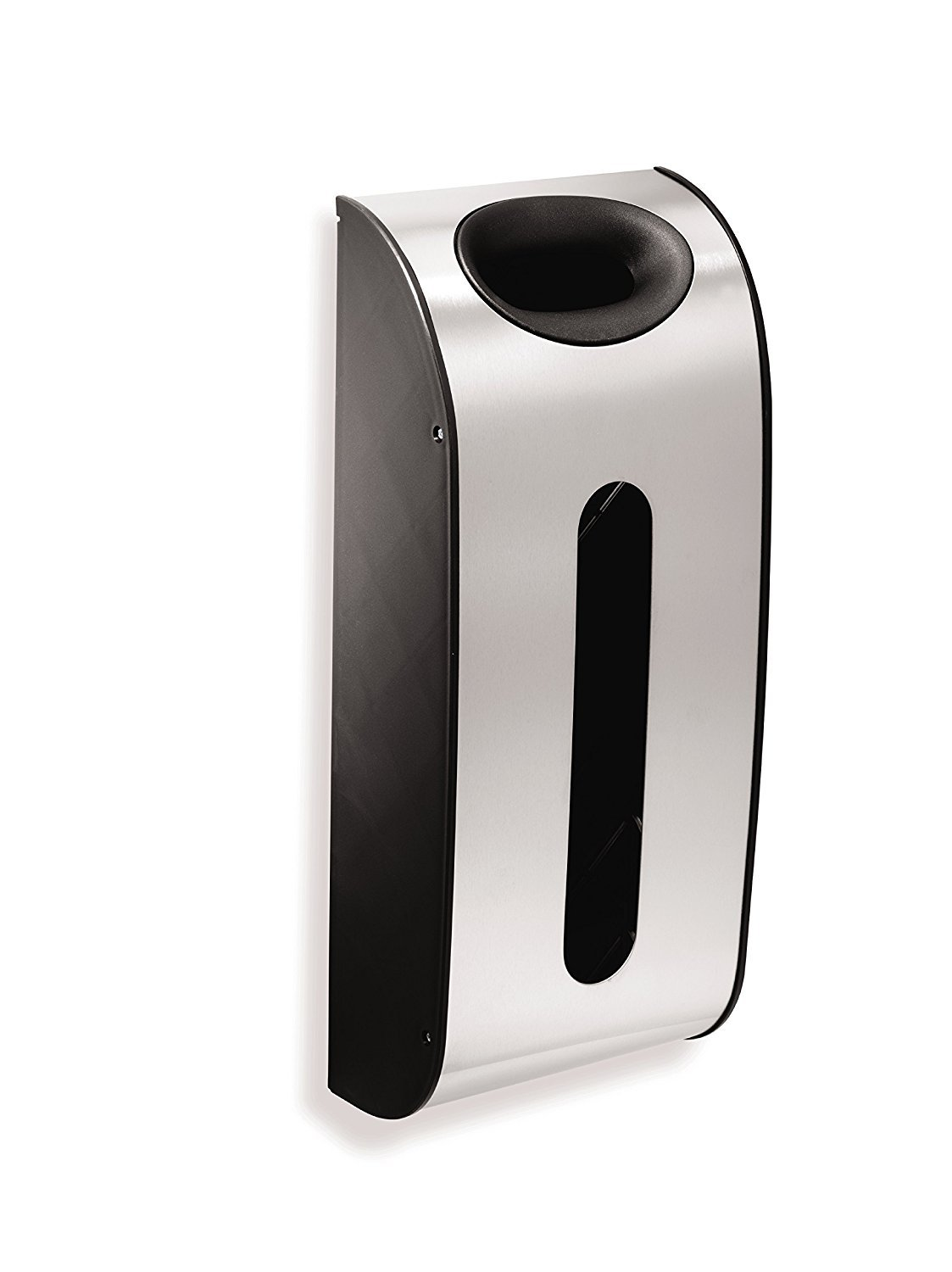 Simplehuman - Soporte de pared para guardar bolsas, acero inoxidable, color plateado, negro