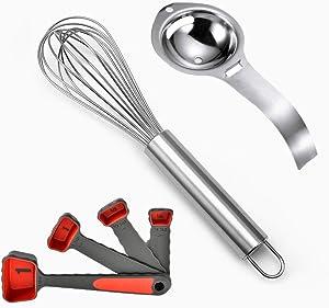 Ibtisam 304 stainless steel kitchenware, eggseparator, manual egg beater, silicon measuring scoop set,