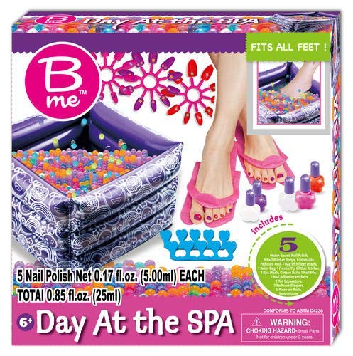 B Me Day at The Spa - Ultimate Kids Spa Kit w/ Nail Polish, Press-On Nails, Nail Stickers, Pedicure Pool, Bath Beads, Slippers & More