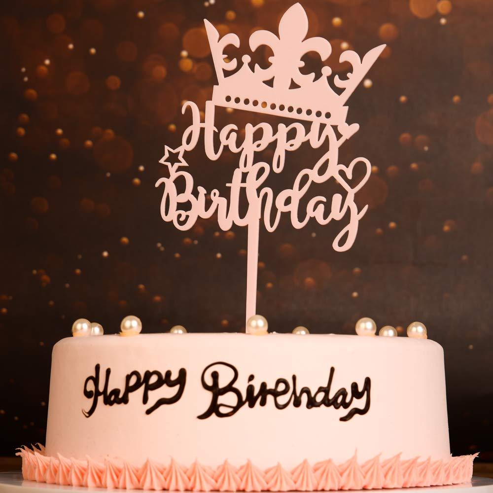 Strange Pink Crown Happy Birthday Cake Topper Acrylic Birthday Cake Topper Funny Birthday Cards Online Elaedamsfinfo